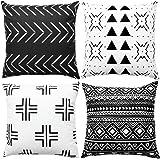 WLNUI Set of 4 Black Boho Modern Pillow Covers 18x18 Inch Square Farmhouse Throw Pillow Covers Geometric Mudcloth Linen Neutr