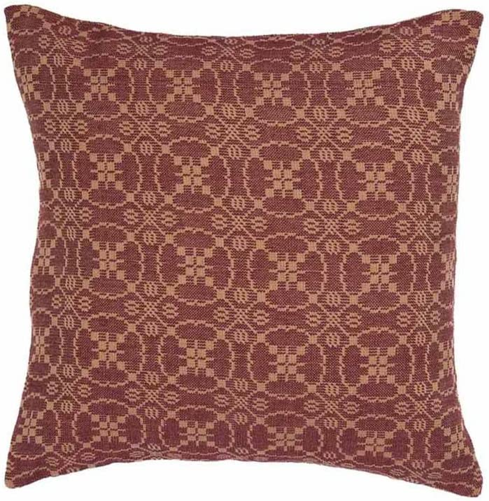"""Home Collection by Raghu Pillow Cover, 18"""" x 18"""", Barn Red/Tan"""