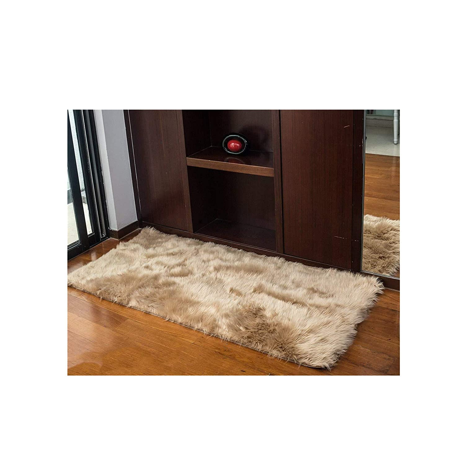 Monthly 50 * 150CM Faux Fur Rug Soft Fluffy Rug Shaggy Rugs Faux Sheepskin Rugs Floor Carpet for Living Room Bedrooms Decor (Brown)