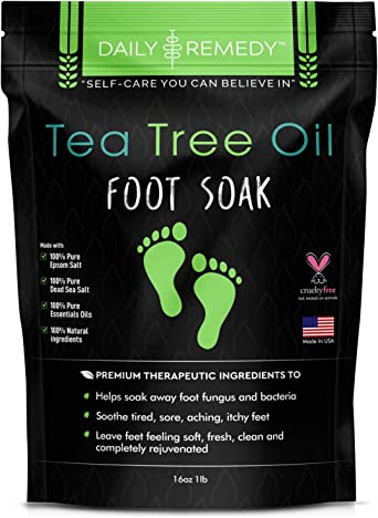 Tea Tree Oil Foot Soak with Epsom Salt - Made in USA - for Toenail Fungus, Athletes Foot, Stubborn Foot Odor Scent, Fungal, Softens Calluses & Soothes Sore Tired Feet - 16 Ounces