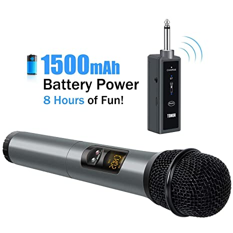 TONOR Micrófono Bluetooth Inalámbrico 10 Canales Portátiles UHF para Cantar Karaoke con Receptor Mini Compatible con