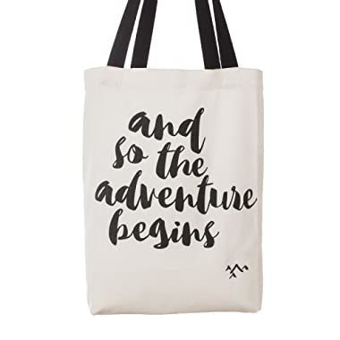 Ling's moment And So the Adventure Begins Wedding Canvas Cotton Tote Bags Adventure Wedding Favors Bride Tote Bag Bridesmaid Gifts