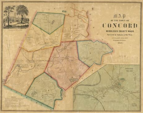 Amazoncom Vintage 1852 Map of Map of the town of Concord