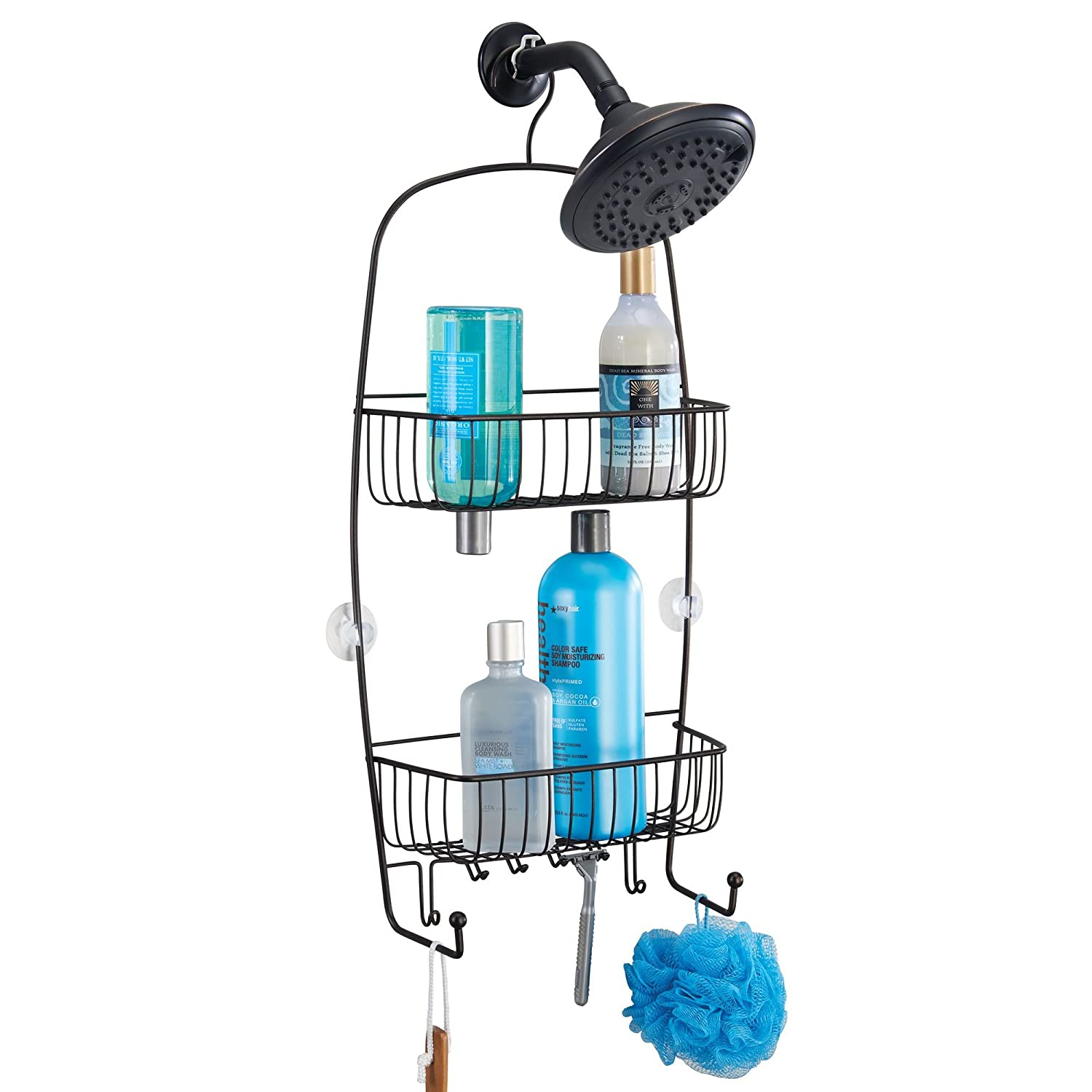 Amazon.com: mDesign Extra-Large Hanging Shower Caddy Organizer with ...