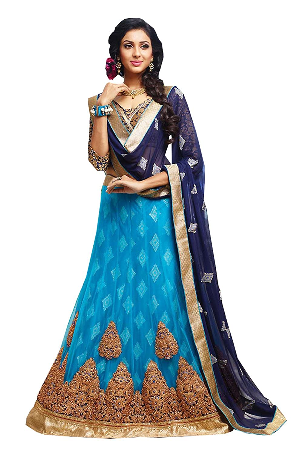Fashions Trendz Womens Sky Blue Color Pretty A Line Lehenga Style With Lace Work Dupa