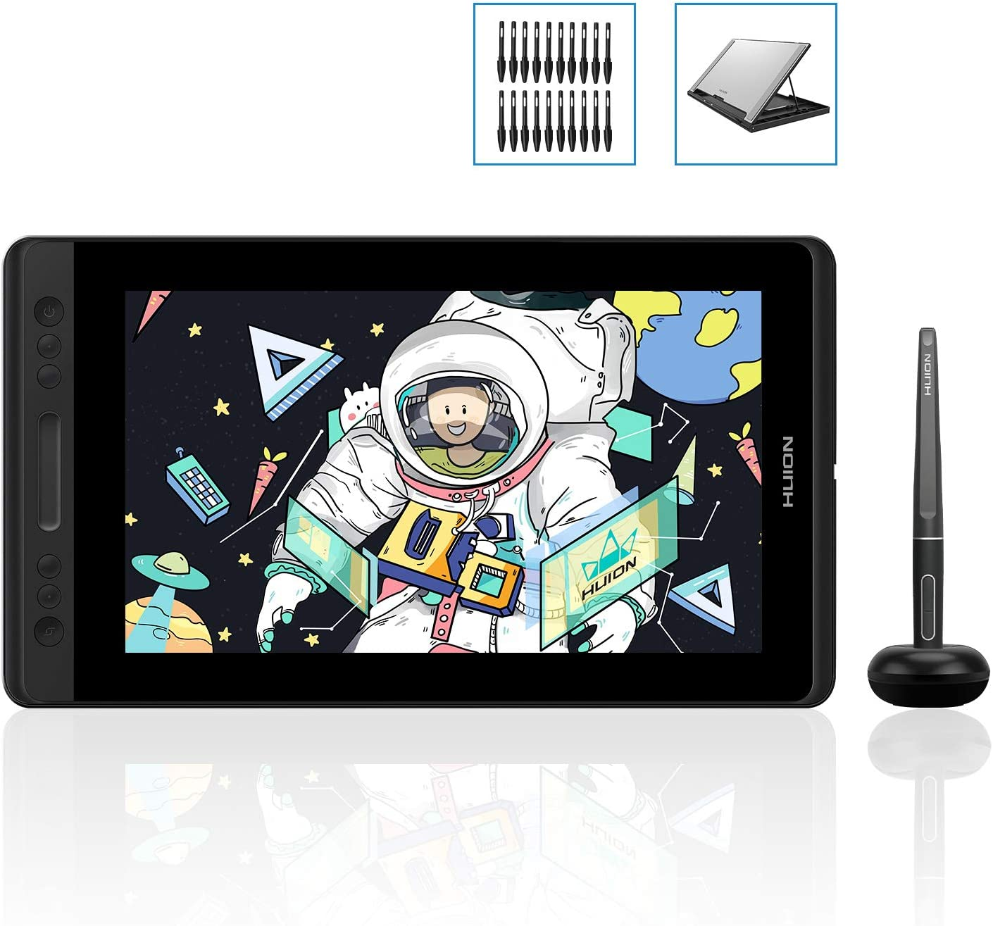 Stand Included HUION Kamvas Pro 13 GT-133 Drawing Tablet with Full Laminated Screen 13.3inch Graphics Monitor Pen Display with Battery-Free Stylus 8192 Pen Pressure Tilt Touch Bar