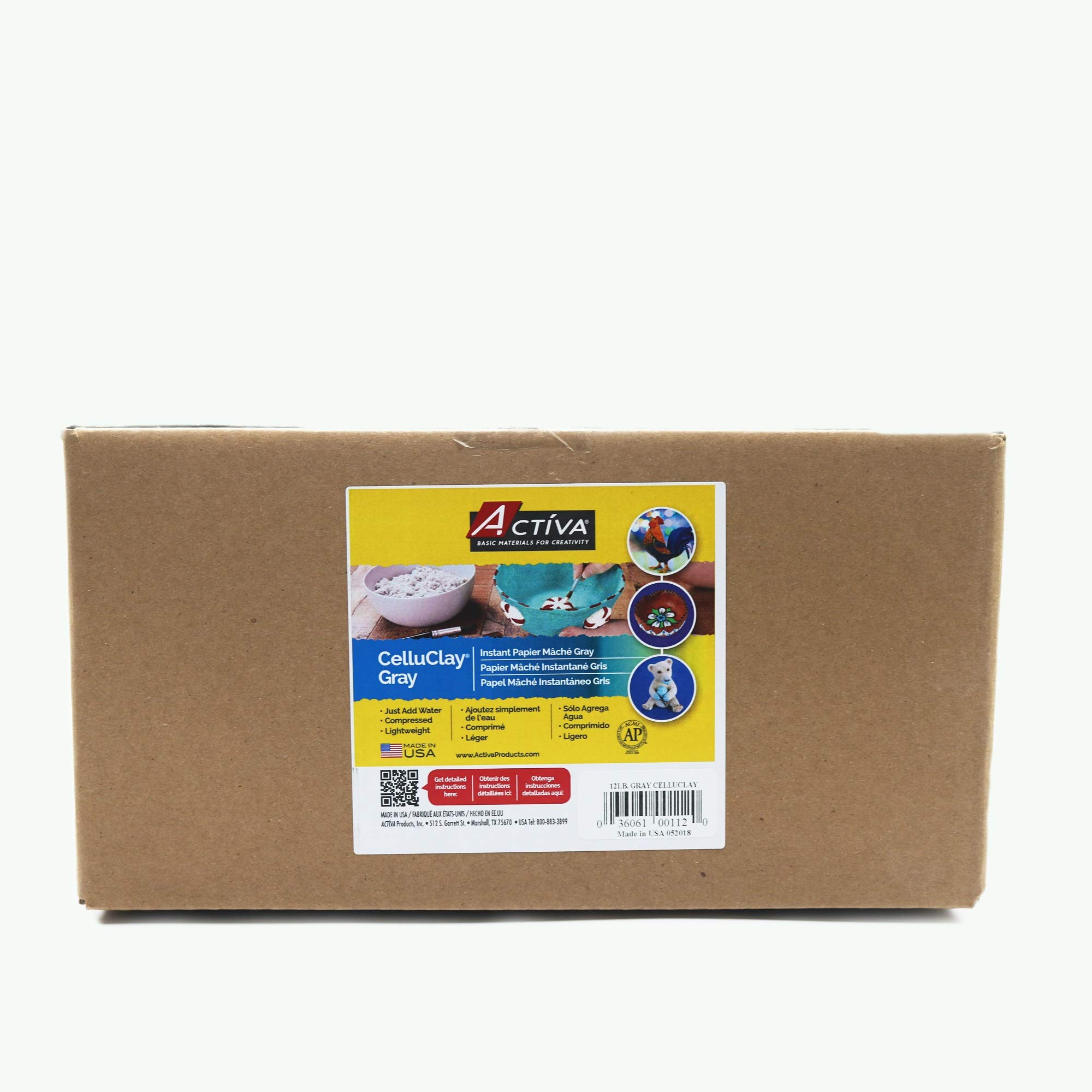 Activa 112 Celluclay Instant Mix, 12 pounds, Gray Paper Mache, by Activa