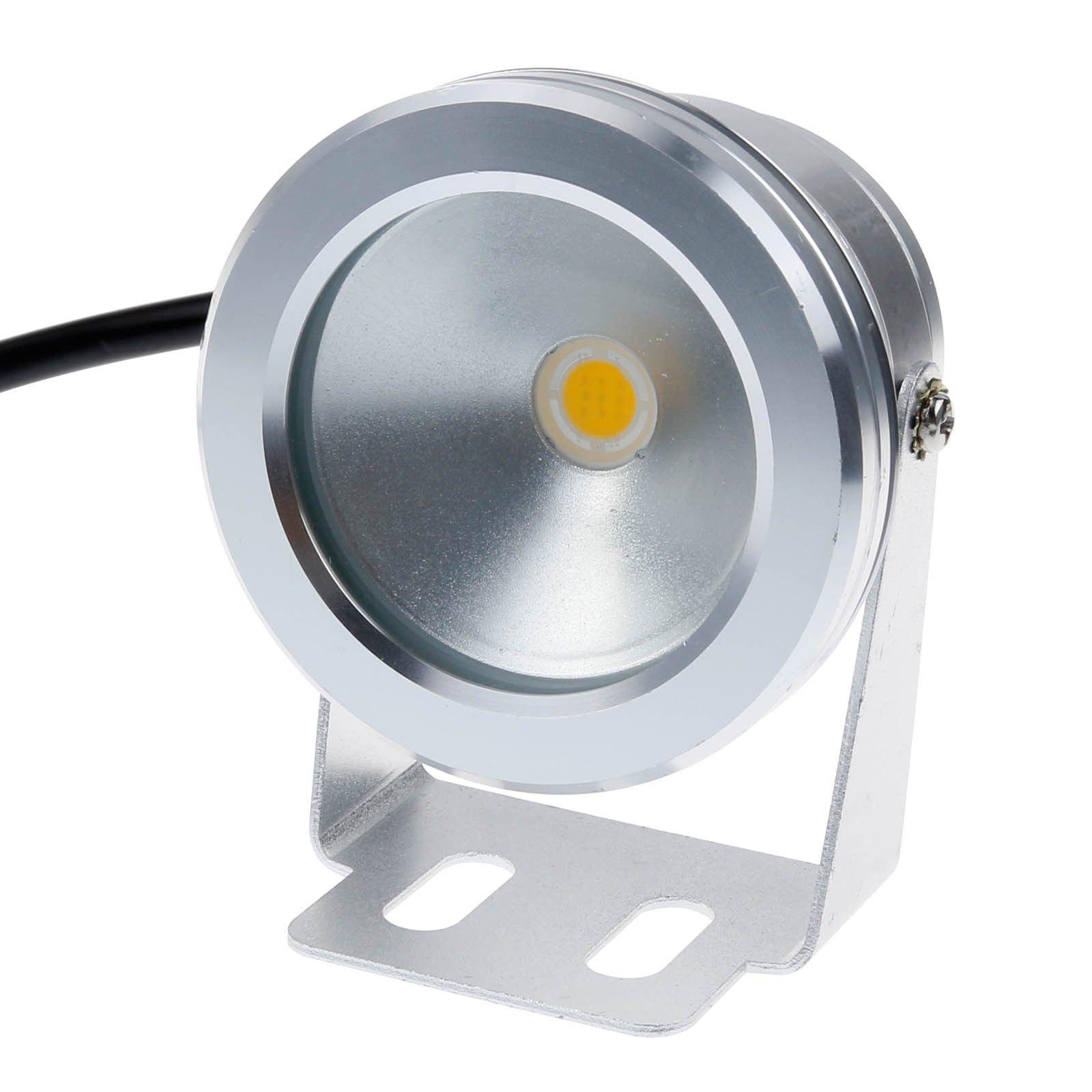 Zxlight®10w 12v Silver LED Underwater Flood Light, Ip68 Waterproof Landscape Fountain Lamp, Warm White,white,rgb (10, Warm White)