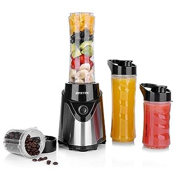 BESTEK Batidora de Vaso Portátil para Smoothies, Batidos y Picadora de Frutas Potencia 300W,