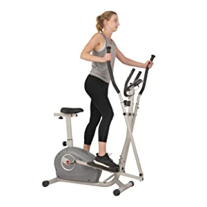 Sunny Health & Fitness 2 in 1 Magnetic Elliptical Upright Bike
