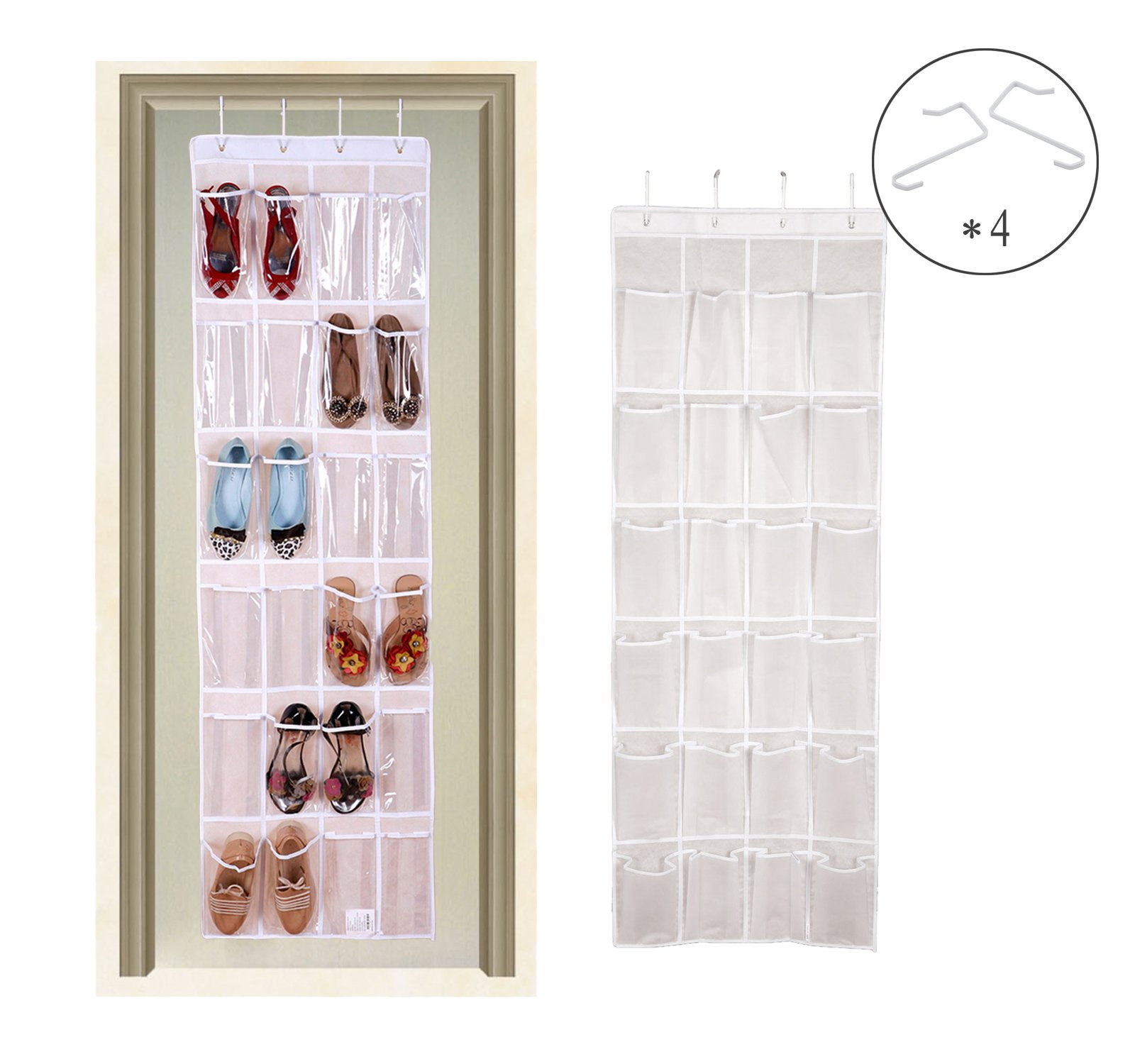 Over the Door Shoe Organizer, SunJolly Shoe Bag 24 Pockets White Crystal Single-sided Hanging Shoe Storage Rack,Socks, Ties, Toiletries with Hooks (64\'\' x 19\'\') (White)