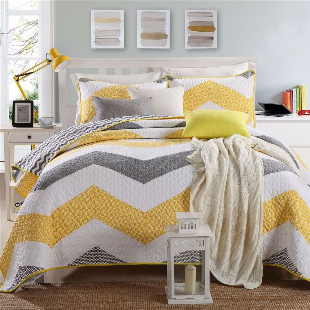 Miaote Retro 3 Piece Quilt Set Yellow/Grey / White Handmade Patchwork Bedspread,100% Cotton Wave Stripe Pattern Queen Size