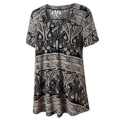 6989aba05 Giulot Womens Swing Tunic Tops Loose Fit Comfy Flattering T Shirt Plus Size Short  Sleeve V