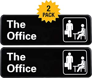 "The Office Sign: Easy to Mount Informative Plastic Sign with Symbols, 9""x3"" Sign 2-Pack (Brown)"