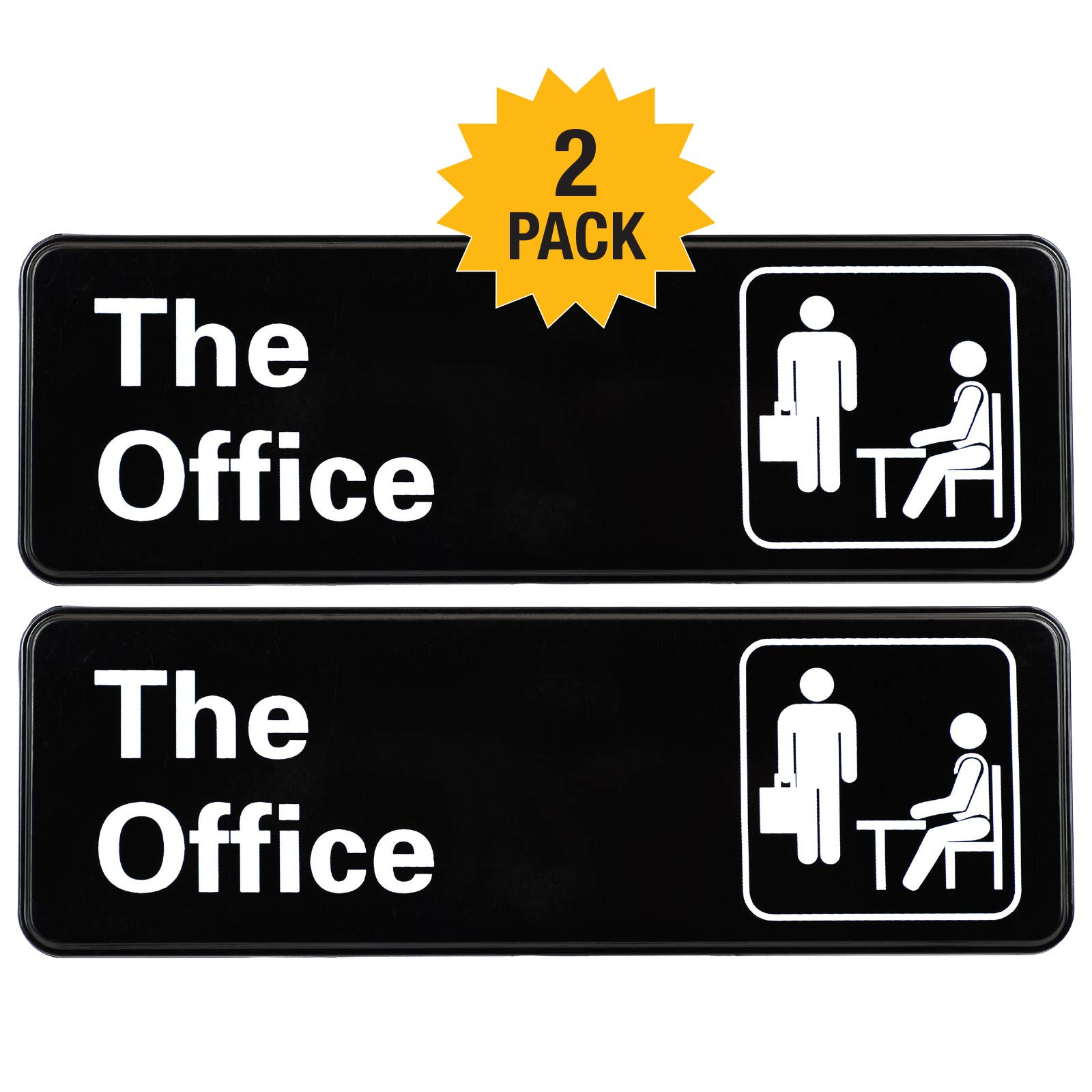 The Office Sign: Easy to Mount Informative Plastic Sign with Symbols, 9''x3'' Sign 2-Pack