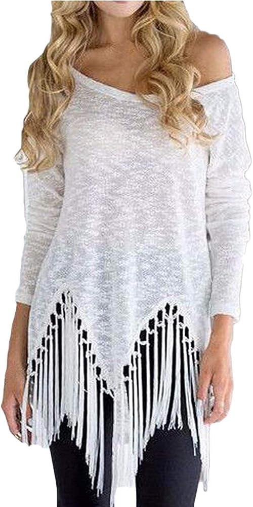 Camisa De Manga Larga para Mujer Sin Hombros Camisa Asimétrica Ropa De Camisa Moda con Borla Superior Blusa Elegante Suelta para Mujer (Color : Blanco, Size : S): Amazon.es: Ropa y accesorios