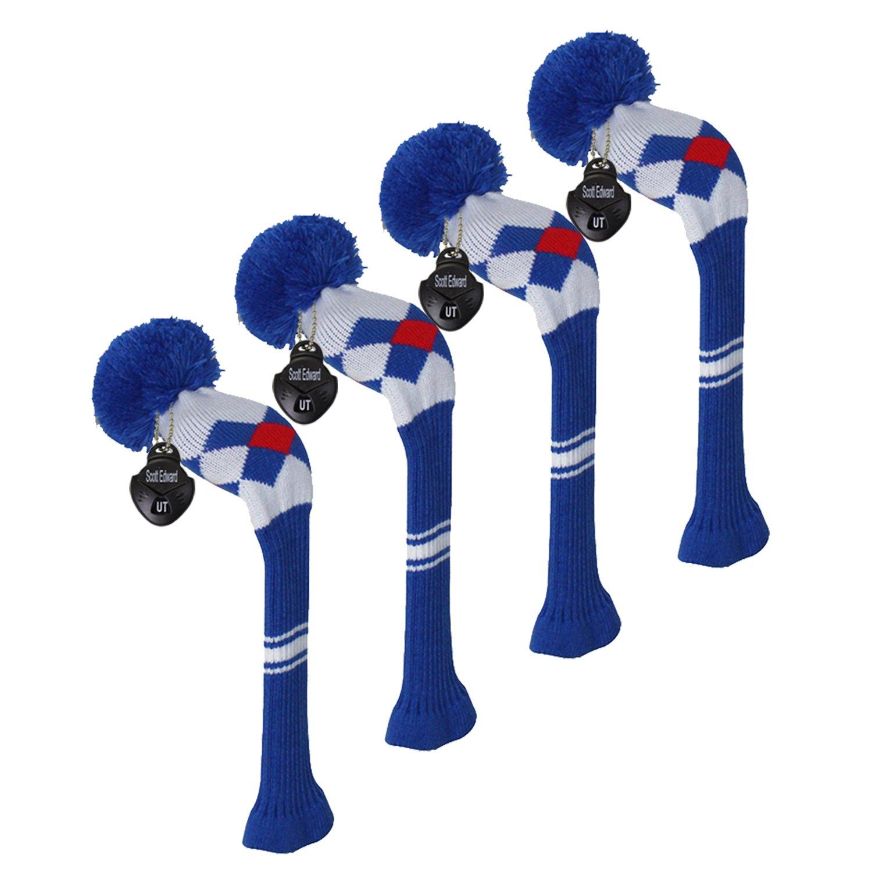 【お1人様1点限り】 スコットエドワードゴルフハイブリッド/ユーティリティクラブヘッドカバー ブルー、4ピースパック ブルー、アーガイルパターン、アクリル糸double-layersニット、回転可能な番号タグ、4色のオプション B075M8X2HY ブルー B075M8X2HY ブルー, ジョウナンク:ab8b1923 --- arianechie.dominiotemporario.com