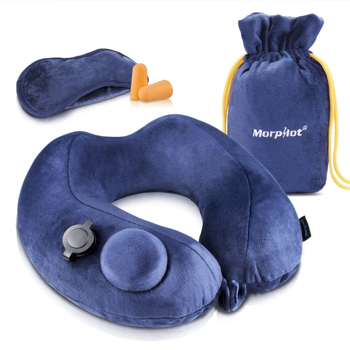 morpilot Inflatable Travel Pillow Velvet Neck Pillows Soft for Aircraft Train and Automobile with Ear Plugs and Compact and Lightweight Mask