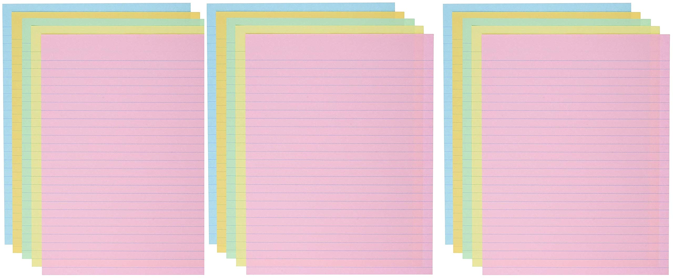 School Smart Ruled Exhibit Paper, 8-1/2 x 11 Inches, Assorted Colors, (3 X Pack of 500)