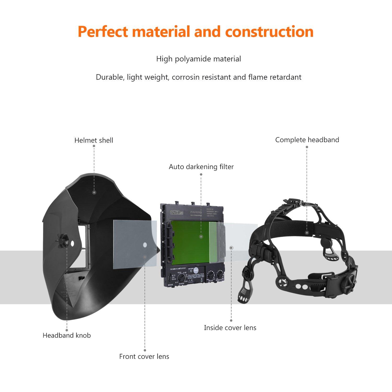 Welding Helmet Tacklife Pah03d Solar Power Auto Darkening Diagram With Wide Shade Range Din 3 4 8 9 13 And Highest Optical Class 1