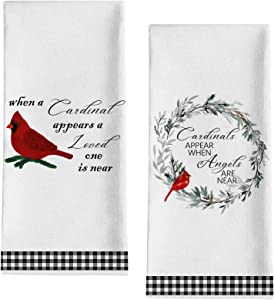 Seliem Cardinal Appear When Angel Near Kitchen Dish Towel, Black White Buffalo Plaid Check Bath Fingertip Towel Tea Bar Hand Drying Cloth, Summer Farmhouse Red Bird Wreath Decor Home Decorations 18x28