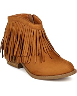 Amazon.com | Soda Women's Jervis Faux Suede Double Fringe Moccasin ...