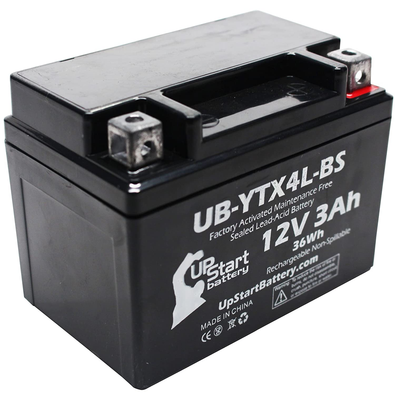 Replacement 2001 Polaris Scrambler, Sportsman 90CC Factory Activated, Maintenance Free, ATV Battery - 12V, 3Ah, UB-YTX4L-BS Upstart Battery UB-YTX4L-BS-DL42