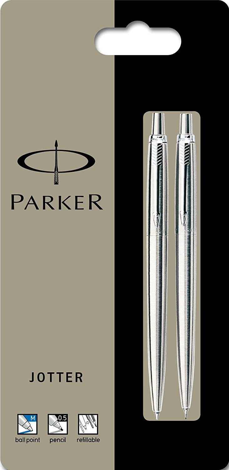 Parker S0881951 Jotter Ballpoint Pen and Mechanical Pencil Blister Pack, Stainless Steel with Chrome Trim Newell Rubbermaid