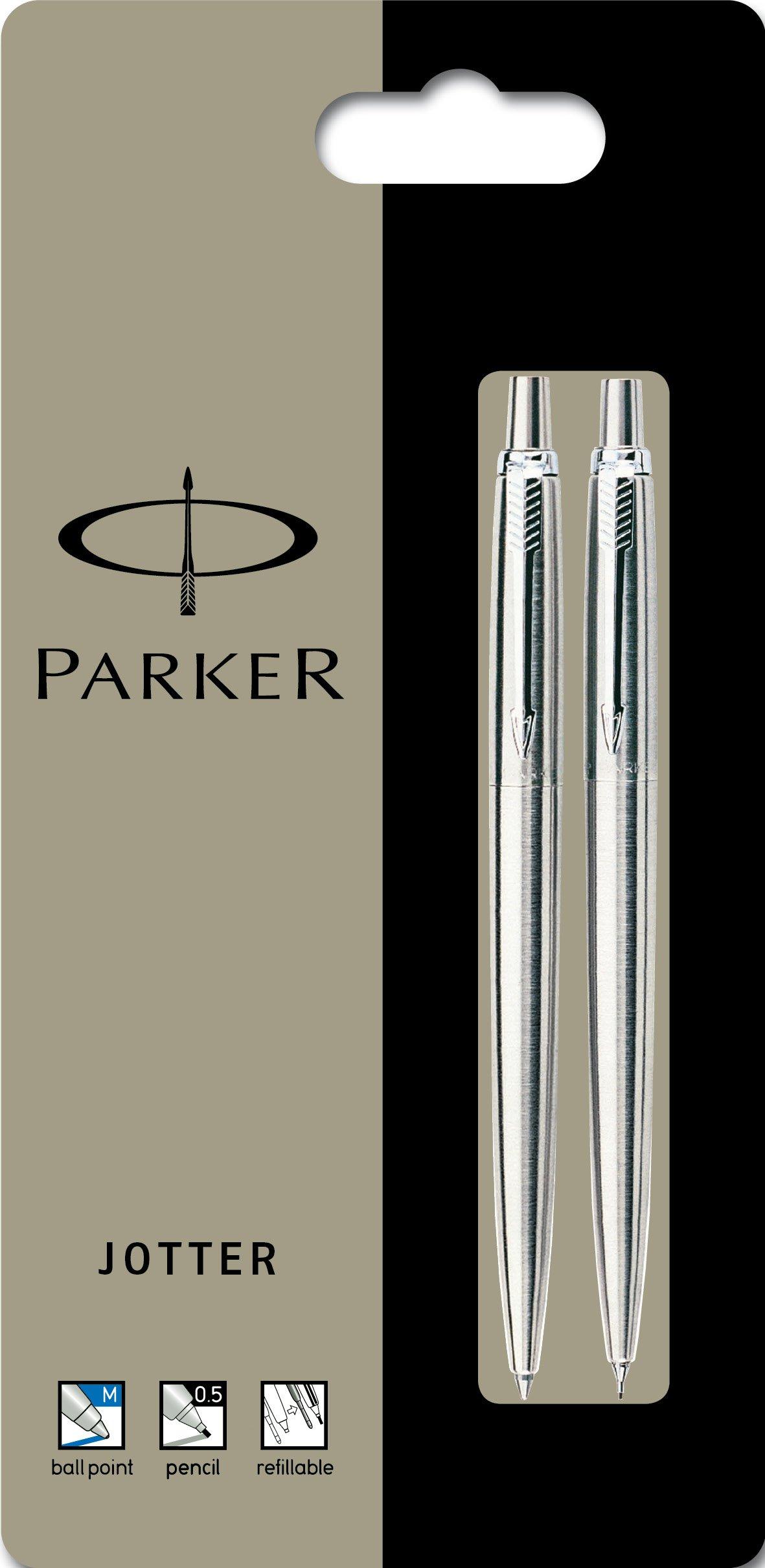 Parker Jotter Stainless Steel Chrome Trim Ball Pen & Mechanical Pencil - Set of 2