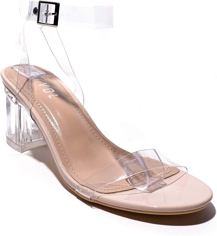REVOL Cash special price Wisdom Clear Chunky Block Transparent for Finally popular brand Women Heels Low