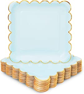 Pastel Blue Square Paper Plates, Gold Foil Scalloped Edge (9 In, 48 Pack)