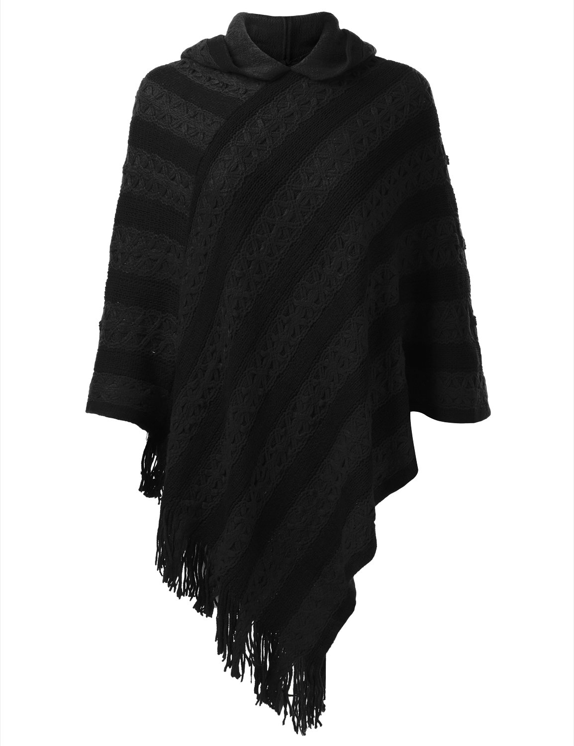 Fifth Parallel Threads FPT Women's Two-Tone Striped Hooded Knit Poncho Black OS