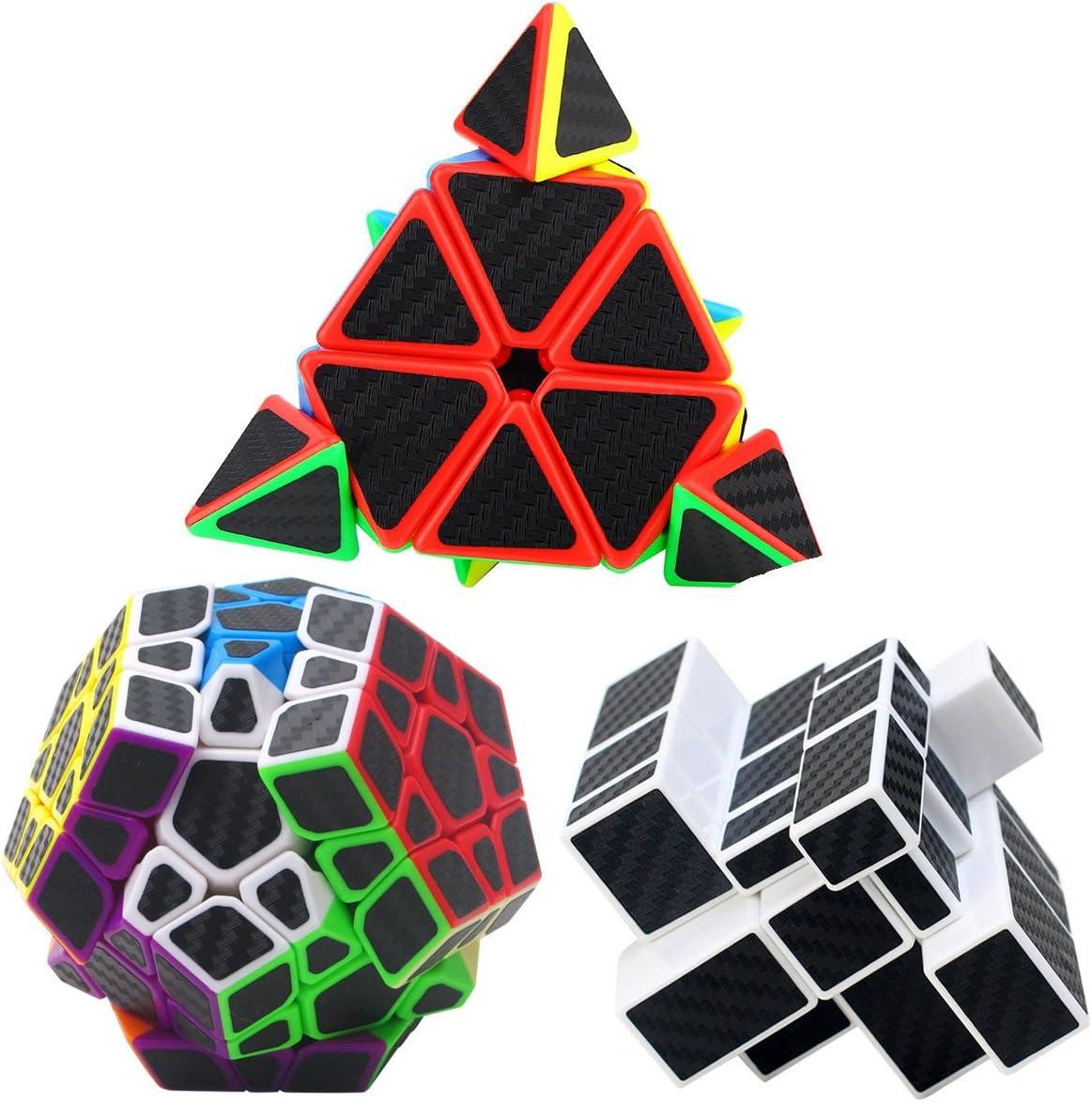 Coolzon Puzzle Cubes Megaminx + Pyraminx + Mirror 3 Pack Cubo Magico con Pegatina de Fibra de Carbono Velocidad: Amazon.es: Juguetes y juegos