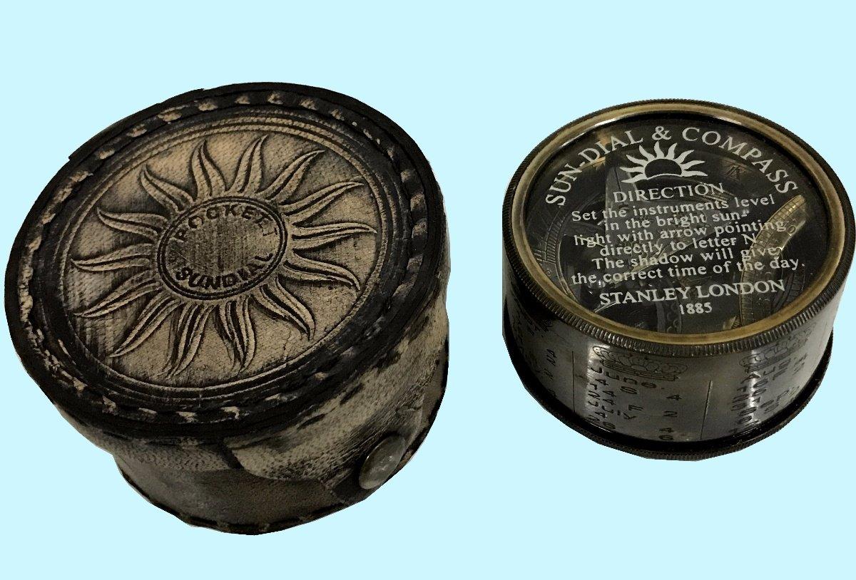 骨董品Worldロンドン1885年ヴィンテージスタイル太陽クロックポケットMaritime Nautical Instrumentハイキング、キャンプ、真鍮ドラム日時計コンパス、カレンダーawusasc 07 B072JTTR5X
