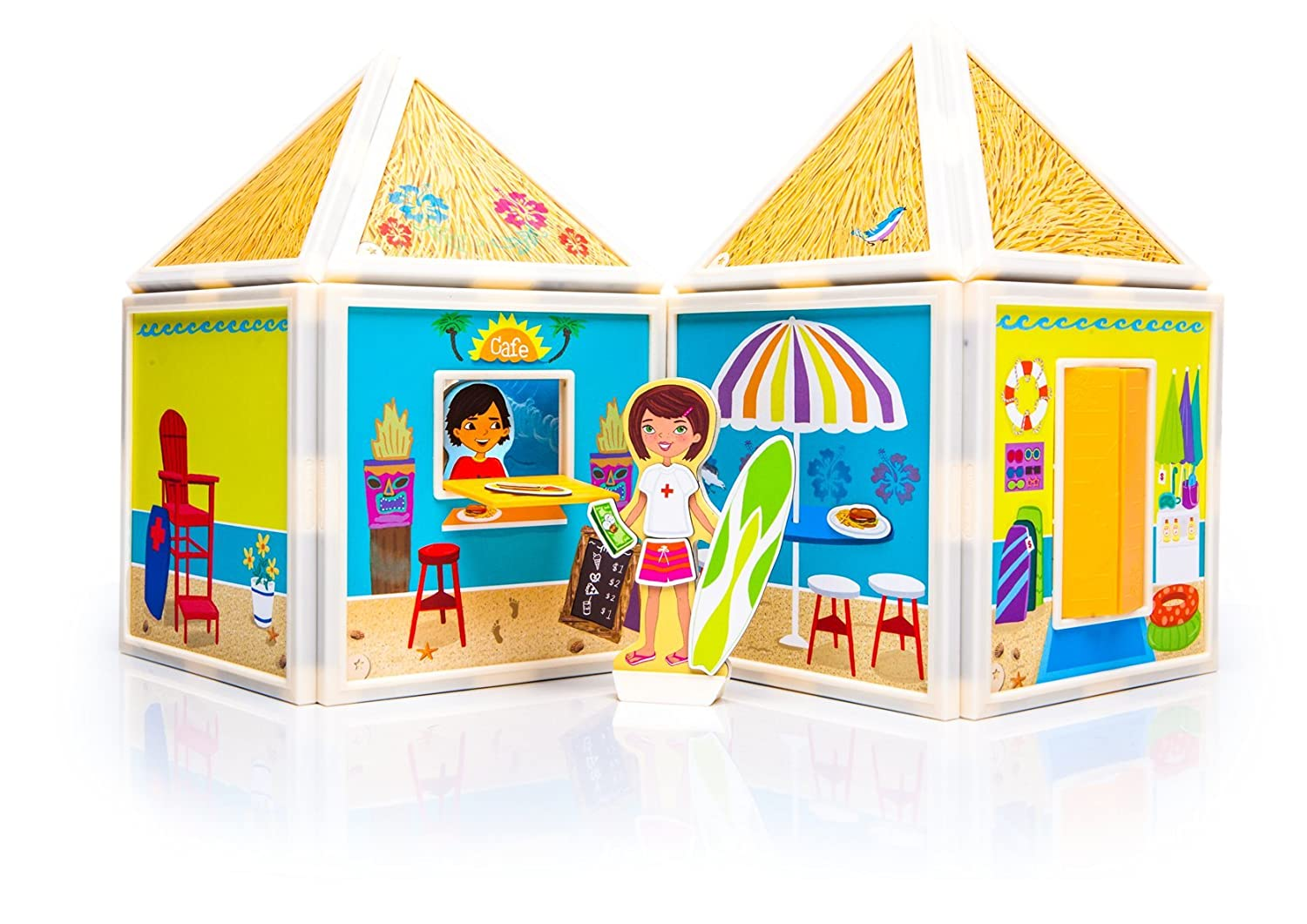 Build & Imagine: Day at the Beach (magnetic building set with girl and boy characters)