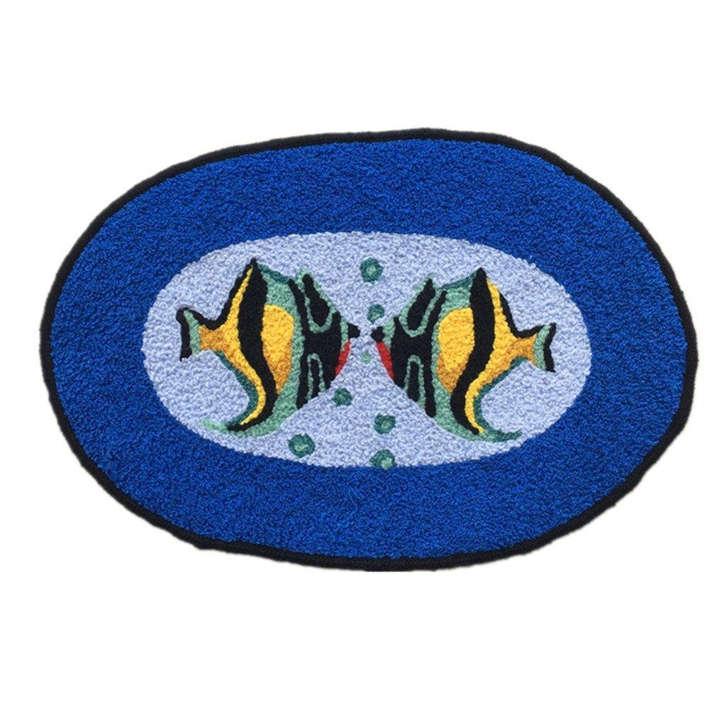 Ustide Ocean Fish Rug Handmade Rug Washable Bathroom Mat