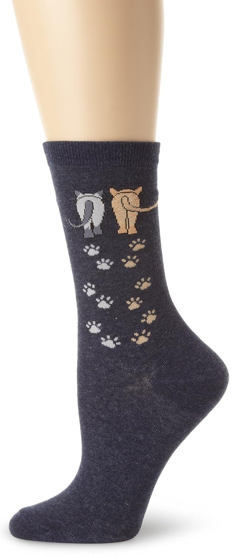 K. Bell Socks Women's Single Pack Playful Animal Novelty Socks Cat Love 9-11 61774