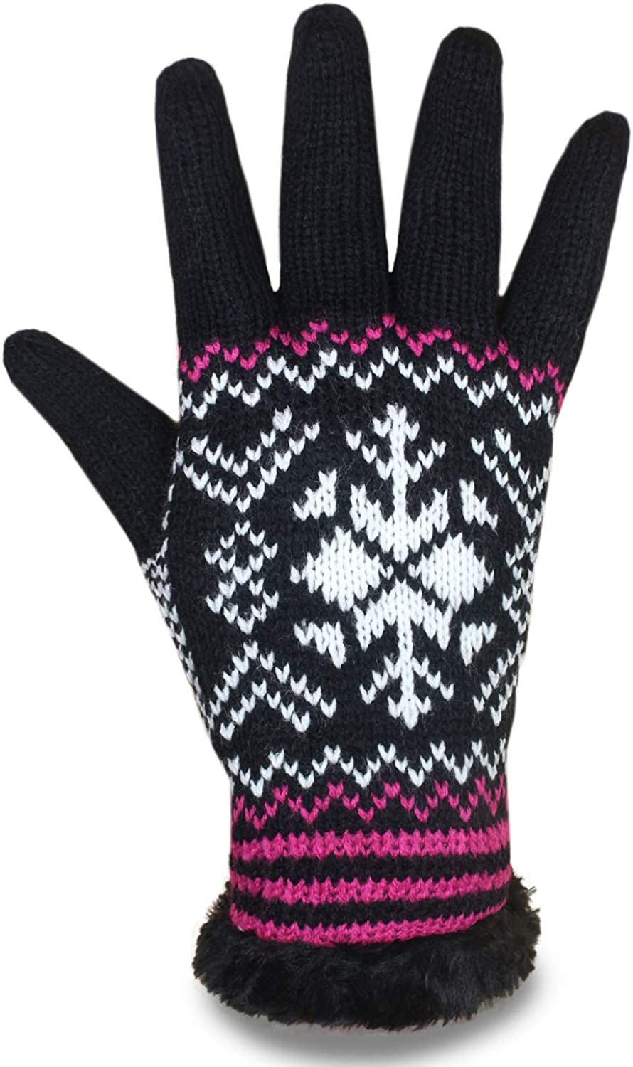 LADIES WOMENS FAIRISLE KNITTED GLOVES WITH FLEECE THERMAL LINING