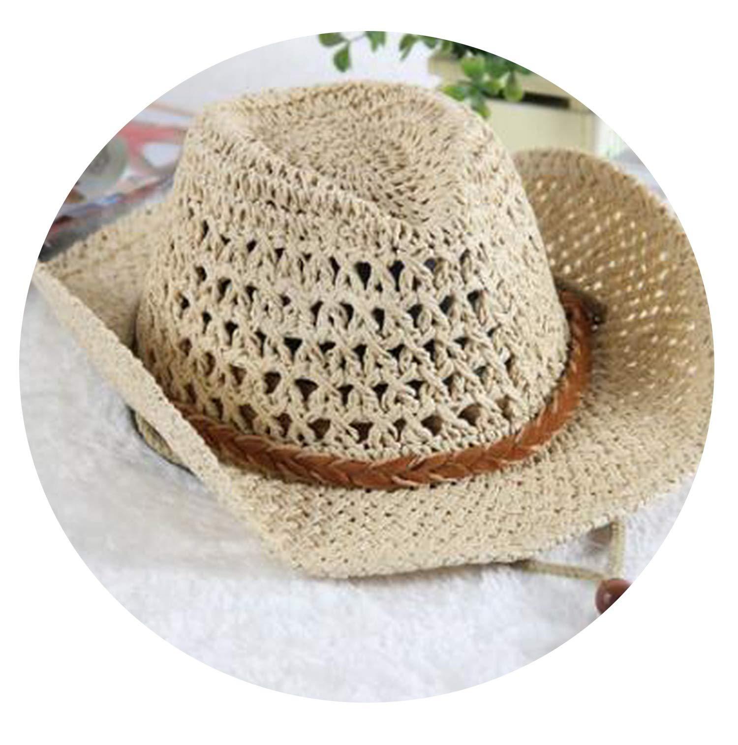 2 3 4 5 6 Years Cowboy Hat Summer Boy's Sun Hat Straw Cap Beach Hat for Kids,Rice White,for Child