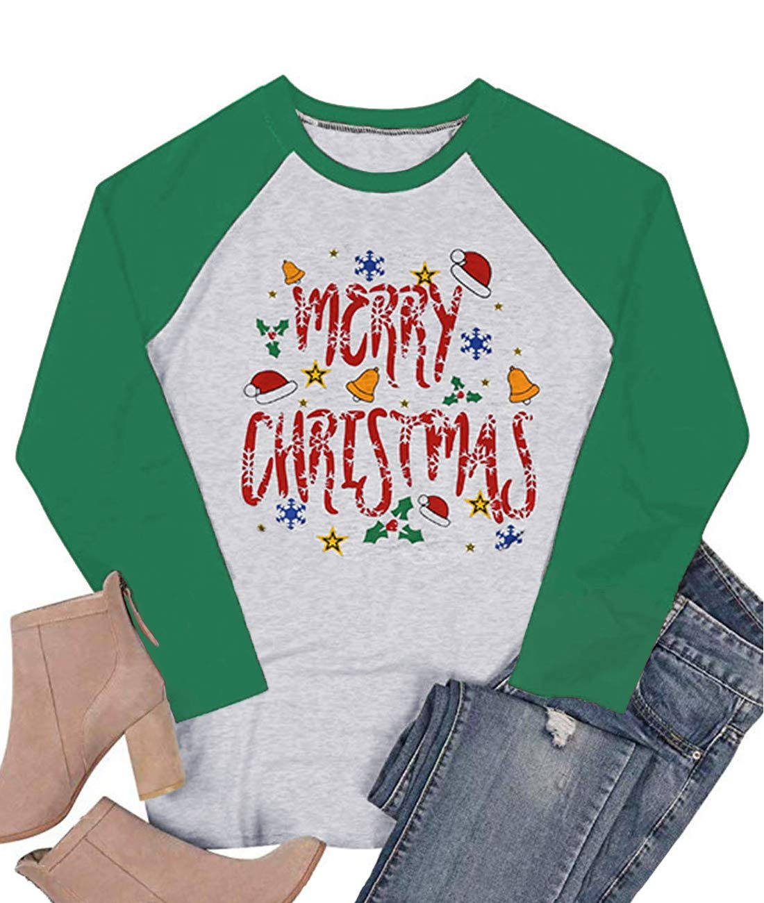 LeMarnia Xmas Shirts for Women, Ladies Long Sleeve Round Neck Casual Christmas Tops Funny Graphic Tees Patchwork Cute Letter T-Shirts Green2 L