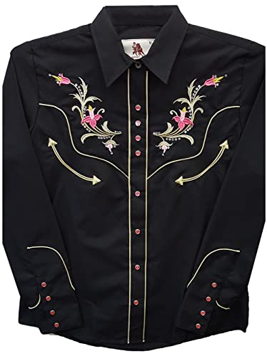 Modestone Women'S Embroidered Long Sleeved Western Camisa Vaquera Floral Horseshoe Black