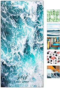 snailman Microfiber Beach Towel,Quick Dry Lightweight Bath Swim Towels, Wave Printed Travel Towel,Shower Beach Blanket Sand Free Towel (Large(60X31)) …