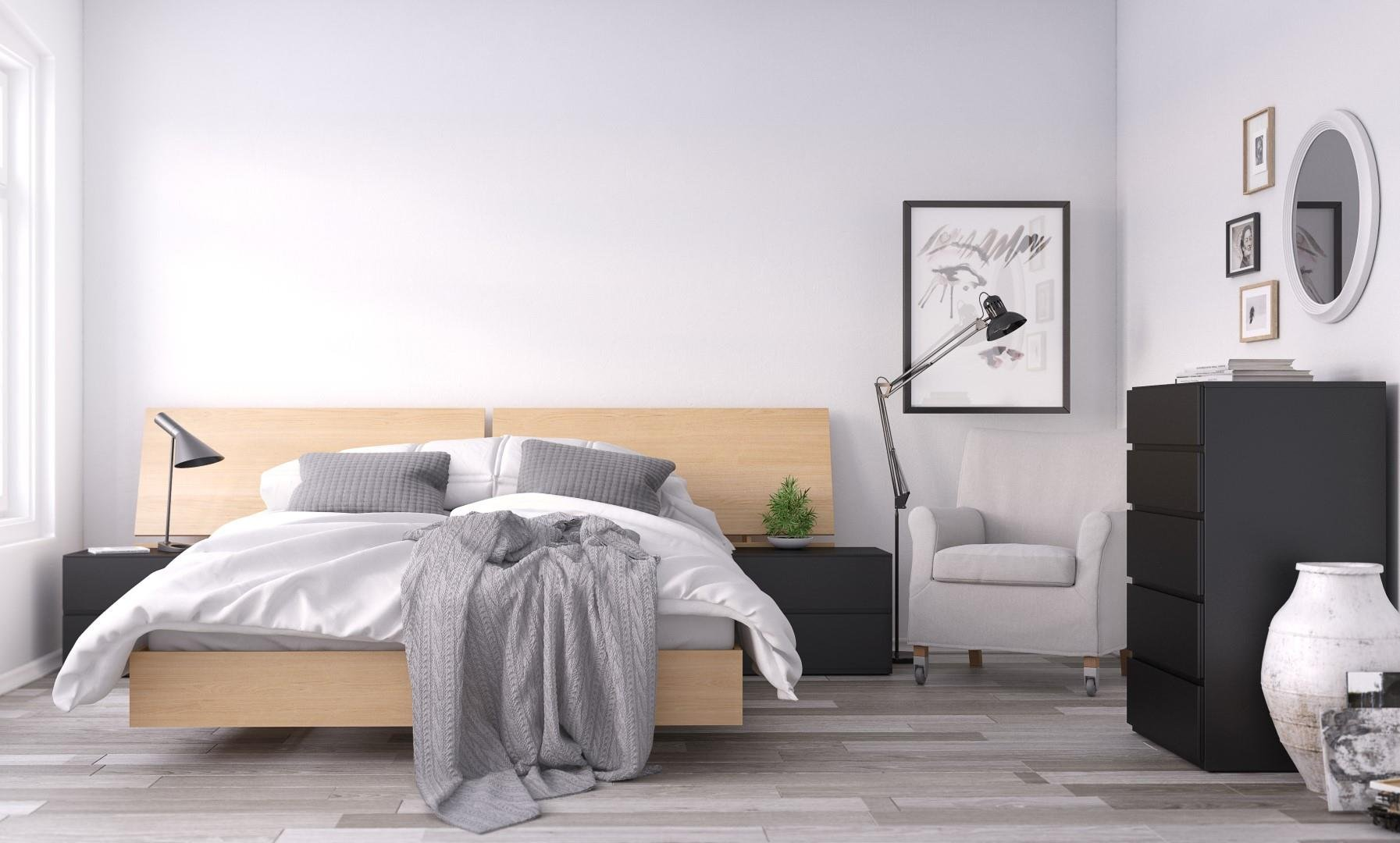 Muse 5 Piece Queen Size Bedroom Set Black and Natural Maple