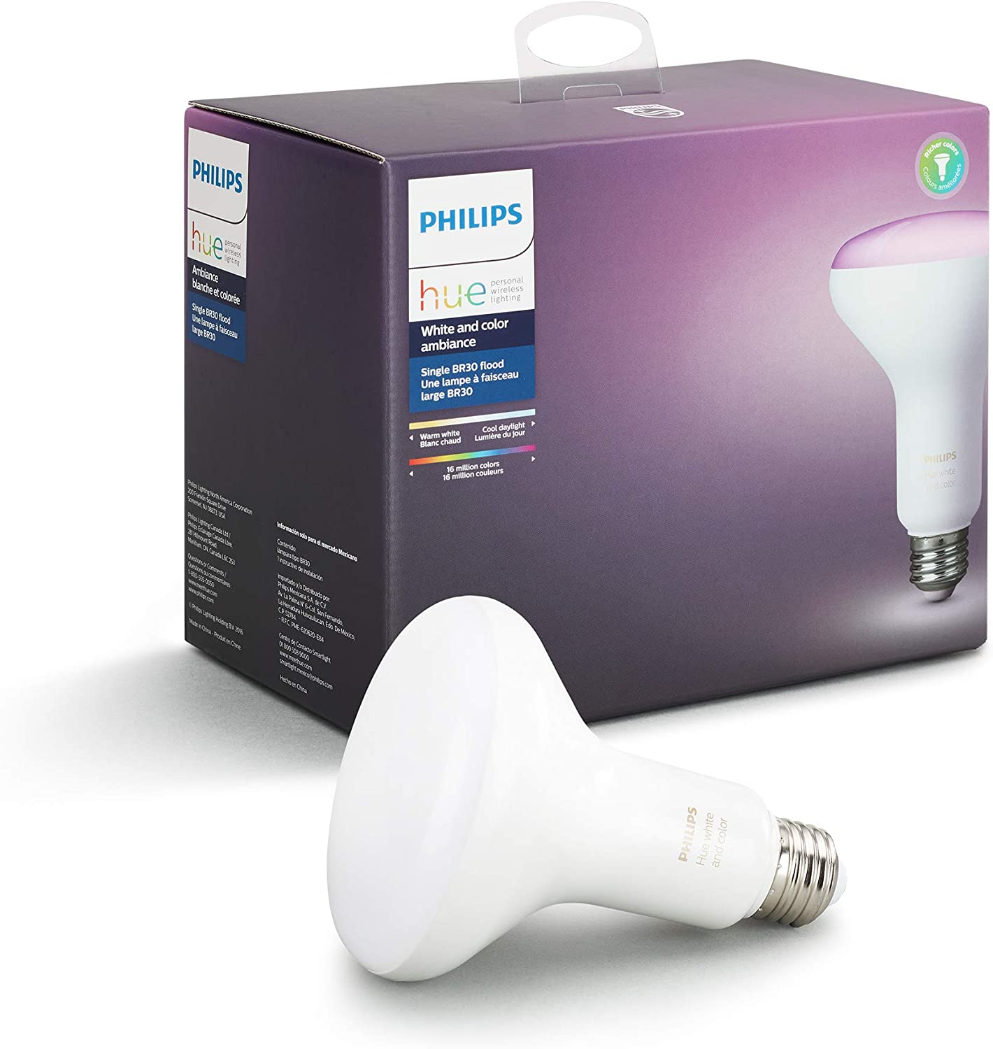 Hue White and Color Ambiance BR30 Wi-Fi Smart LED Floodlight Bulb