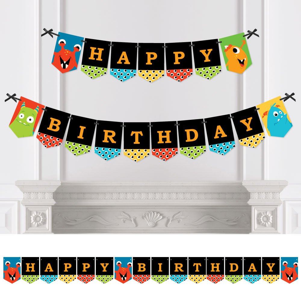 Monster Bash - Little Monster Birthday Party Bunting Banner - Party Decorations - Happy Birthday