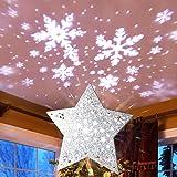 MAOYUE Christmas Tree Topper Snowflake Tree Topper Star Tree Topper with Snowflake Projector Lighted Christmas Tree Topper fo