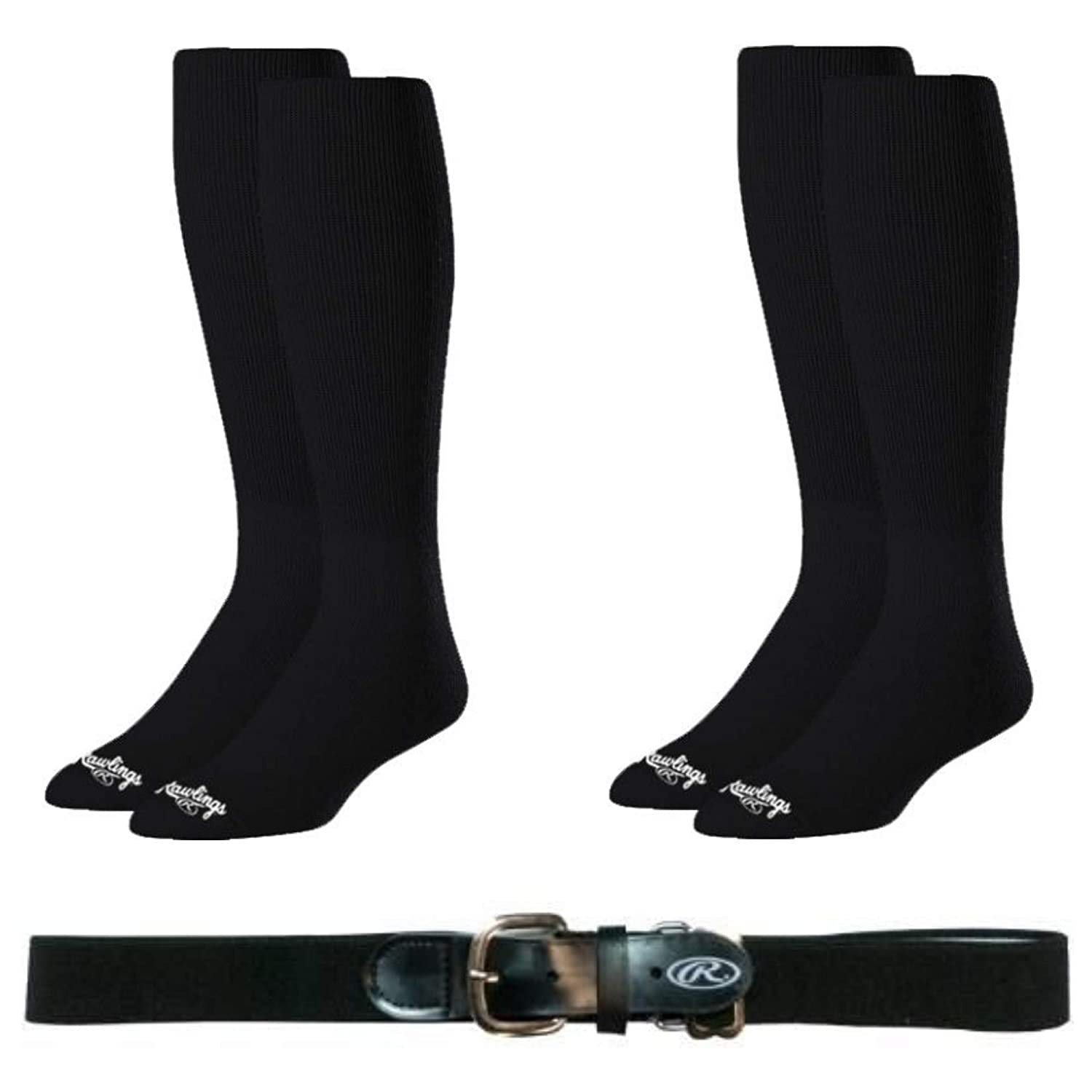 Rawlings Baseball Softball Socks (2-Pairs) And Belt Combo - Available In Black, Red, Navy, Royal Blue Colors