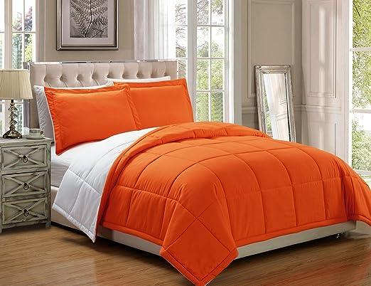 3 piece Luxury Orange / White Reversible Goose Down Alternative Comforter  set, King with Corner Tab Duvet Insert