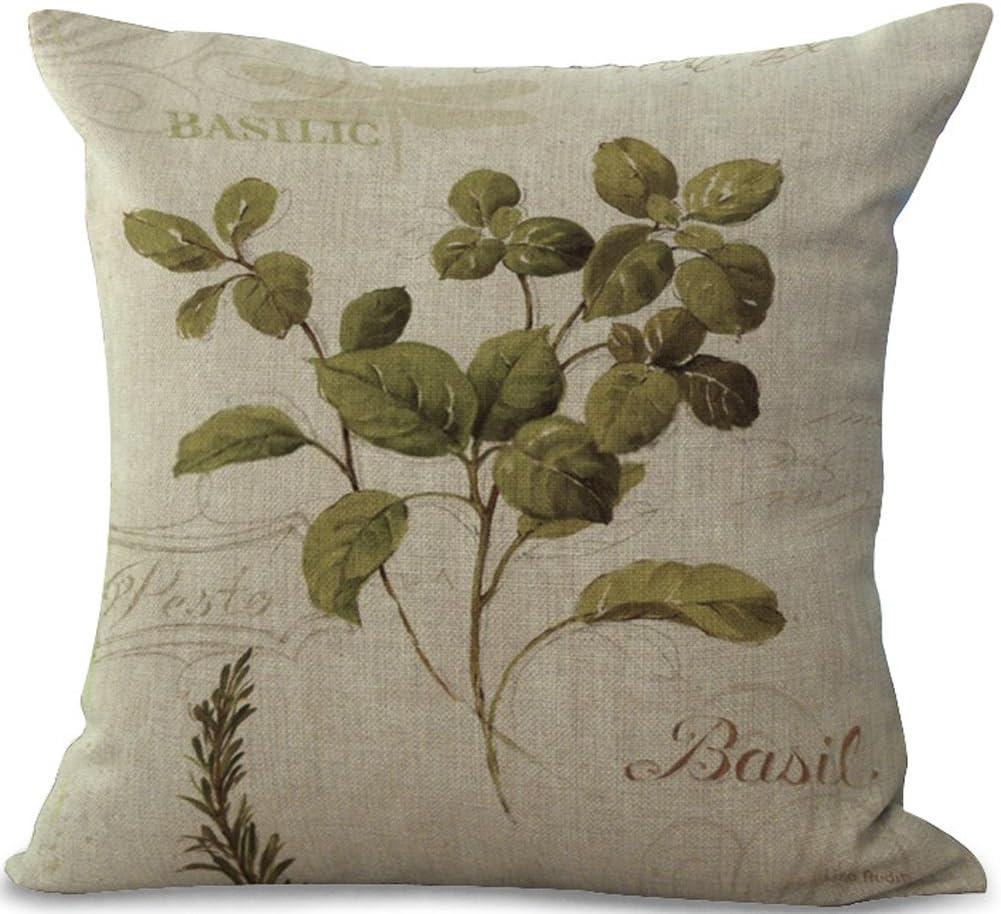 ChezMax Cotton Linen Cushion Cover Basilic Pattern Square Decor Pillow Cover Decorative Throw Pillow Case 18