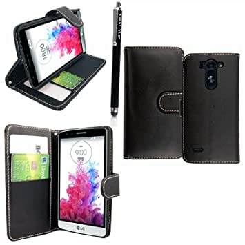 super popular 8b1ae decff Kamal Star® LG Spirit 4G LTE H440N / 3G H420 Premium PU Leather Magnetic  Flip Card Case Cover + Stylus (Black Book)